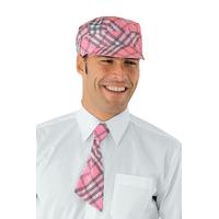 Casquette serveur sam  ecossais rose