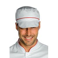 Casquette blanche de cuisine charly avec filet et finition rouge