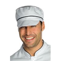 Casquette blanche  de cuisine charly avec filet et finition noire