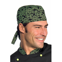 Toque Bandana Cuisine Noir Vert
