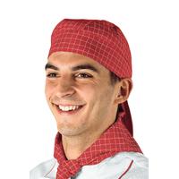 Toque Bandana Cuisine Blanc Carreaux Rouge