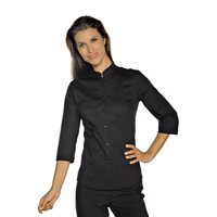 Chemise Stretch Col Mao Manches 3/4 Noir