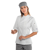 Veste blanche de cuisine Femme manches courtes 100% coton