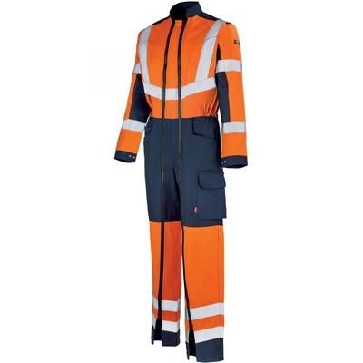 Combinaison de travail haute visibilité orange fluo hivi bleu marine / 5HVHCP234