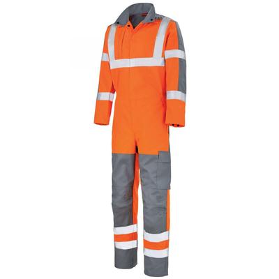 Combinaison de travail haute visibilité orange fluo et gris / 5PRHVCP406