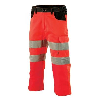 Pantacourt de travail haute visibilité rouge fluo et noir galilee / 1FLPCP2054