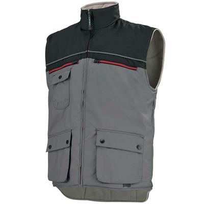 Gilet de travail sans manches Bodywarmer multipoches gris et noir / AG17002