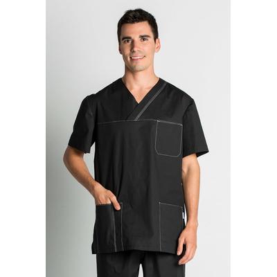 blouse médicale noire stretch pour Homme