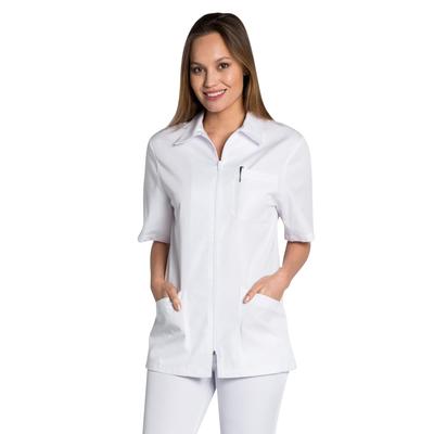Blouse blanche femme avec zip