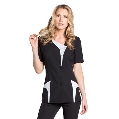 blouse estheticienne noire et blanche