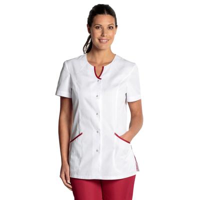 tunique médicale blanche et rouge