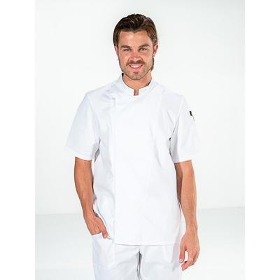 voir veste cuisine blanche élégante manches courtes