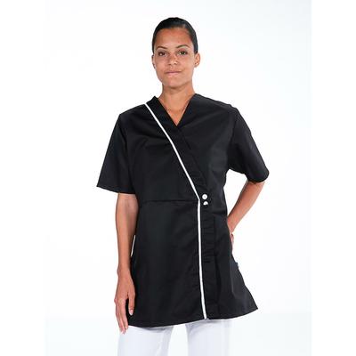 voir kimono noir manches courtes esthéticienne