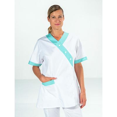 tunique médicale manches courtes blanc et vert pour femme