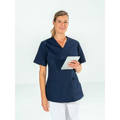 voir casaque médicale bleu marine pour femme à manches courtes