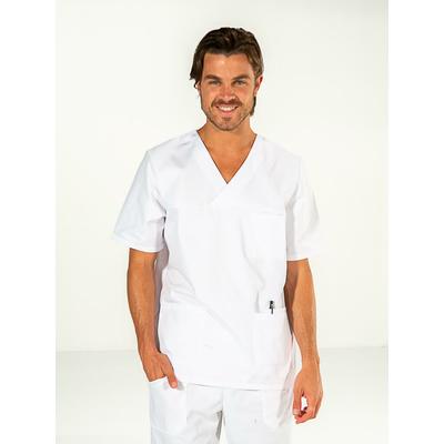 voir casaque médicale homme pas chère blanche manches courtes confortable