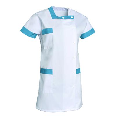 voir tunique aide soignante tendance blanc et bleu manches courtes