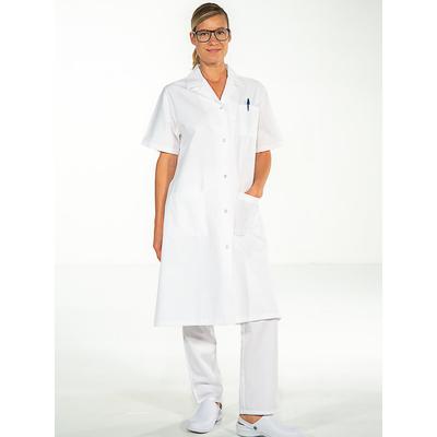 trouver blouse médicale longue coton blanc pour femme à manches courtes