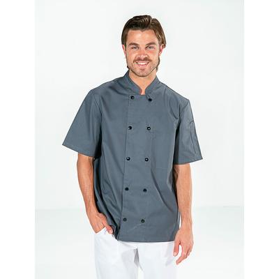 voir veste cuisine grise chic manches courtes grise