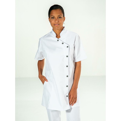 trouver tunique de travail blanc mode pour femme à manches courtes