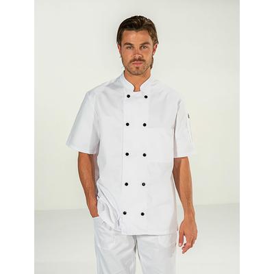 acheter veste cuisinier blanche contrastée bouton noir manches courtes