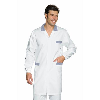 blouse m dicale homme toronto blanc ray bleu 100 coton. Black Bedroom Furniture Sets. Home Design Ideas