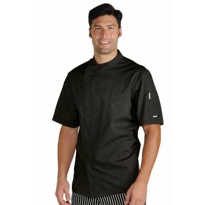 veste chef cuisinier noir tissu ultra l ger vestes de cuisine veste de cuisine manches courtes. Black Bedroom Furniture Sets. Home Design Ideas