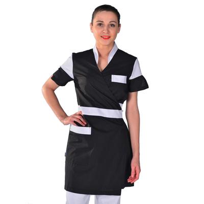 Kimono esthéticienne noir et blanc Beauty Look
