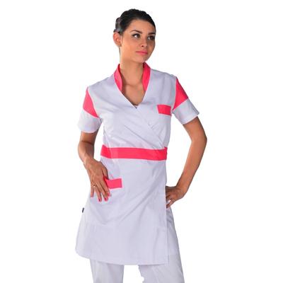 Kimono estheticienne blanc et rose Beauty Look