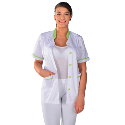 Tunique médicale Femme blanche et vert anis