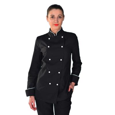 Veste de cuisine noire et blanche pour Femme