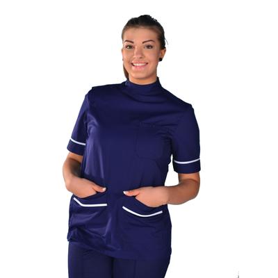 Tunique médicale bleu navy liserets blanc manches courtes Binta