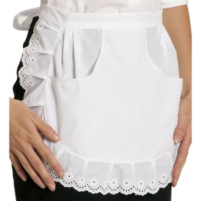 tablier serveuse poches et broderie anglaise