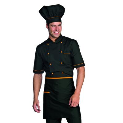 Tablier de cuisine Taille Cm 70x46 avec Poches Noir Abricot - 086413.jpg