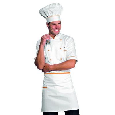 Tablier de cuisine Taille Cm 70x46 avec Poches Blanc Abricot - 086313.jpg