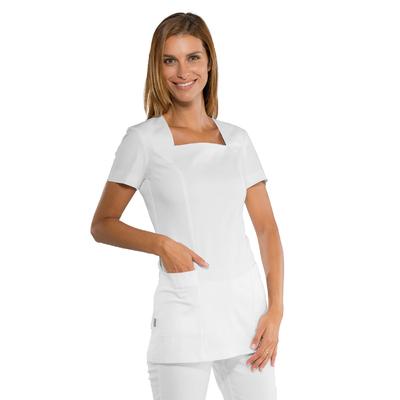 Tunique estheticienne blanche Coupe cintree et col carre stretch confort - 019600.jpg