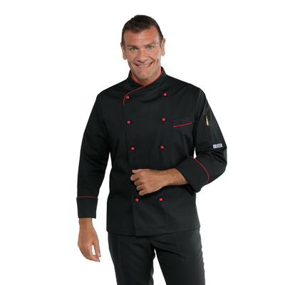 Veste cuisiner coupe slim noire et rouge - 058207.jpg