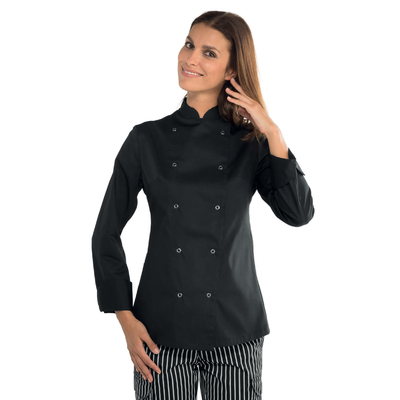 Veste noire de cuisine a boutons pression  pour Femme - 057541.jpg
