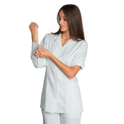 Blouse blanche Medicale Odessa avec manches a pattes retroussables - 012007.jpg