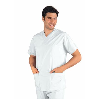 Casaque Medicale blanche Col en V Unisexe - 045008.jpg