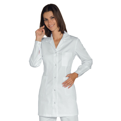 Tunique Medicale Femme Marbella Blanche boutons pression tissu leger - 031530.jpg