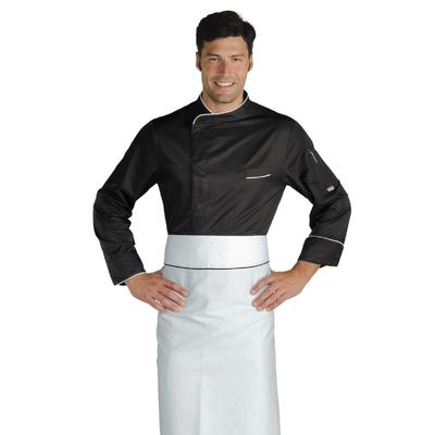 Veste Chef Cuisinier Bilbao Noir Blanc Microfibres - 059331.jpg