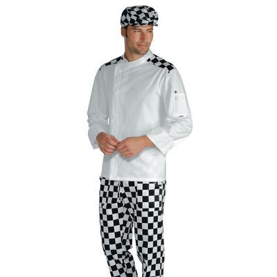 Veste Chef Cuisinier Malaga Blanc scacco 100% Coton - 059939.jpg
