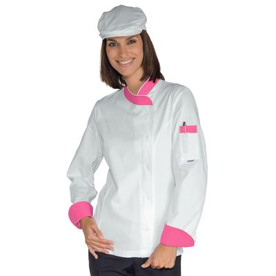 Veste Chef Femme Snaps Blanc Fuchsia 100% Coton - 057786.jpg