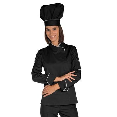 Veste Chef Femme Snaps Noir Blanc Polycoton - 057721.jpg