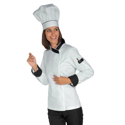 Veste Chef Femme Snaps Blanc Noir 100% Coton - 057711.jpg