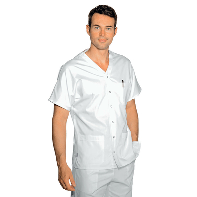Tunique Medicale Blanche 100% Coton Manches courte Cancun - 041100.jpg