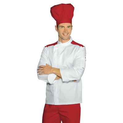 Veste de boucher Malaga Blanc Rouge Polycoton - 059907.jpg
