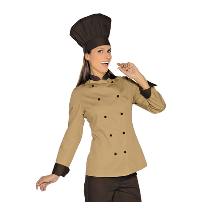 Veste De Cuisine Femme Biscuit Noir - 057615.jpg
