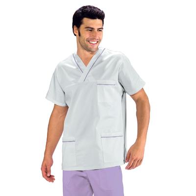 Casaque Medicale Col en V 100% Coton Unisexe Blanc profilo Lilas - 045127.jpg